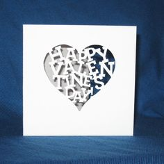 Hand Cut Happy Valentines Day Card, Heart Card    Perfect to send to your special valentine!    Each card is made out of Pure White