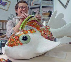 Mosaic sculpture by MoZaikToone in progress. Mosaic Crafts, Mosaic Projects, Mosaic Art, Mosaic Glass, Mosaic Tiles, Art Projects, Mosaic Designs, Mosaic Patterns, Paper Art