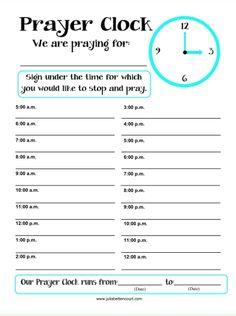 Prayer Clock Printable