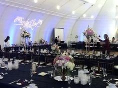 Long tables in our Rio Vista Pavilion. Beautiful and elegant!