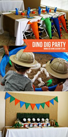 Your little adventurer will love this dino dig-themed birthday party! These decorations and desserts will make your birthday boy feel like a real explorer.