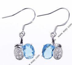 14x12mm 925 Sterling Silver Jewelry Crystal Hook Dangle Earrings Eardrops