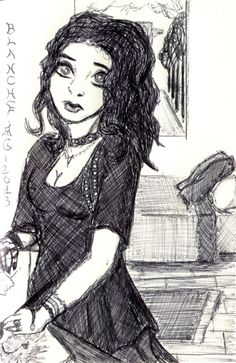 Zoé, gothic lolita, my novel's main character Black Pen Drawing