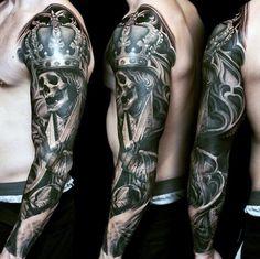 Mens Badass Skeleton Wearing Kings Crown Full Tattoo Sleeve
