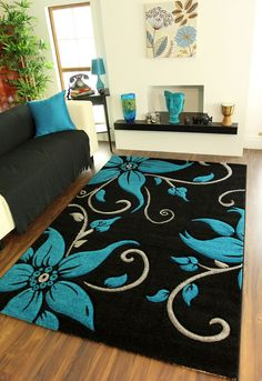 Large Black Teal Grey Fl Print Thick High Quality Modern Havana Rug