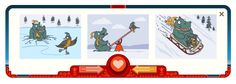 GOOGLE doodle | Valentine's Day and George Ferris' 154th Birthday | February 14, 2013 | ... Hippo & Bird first date.