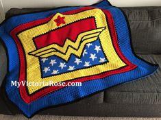 Crochet Wonder Woman Blanket Pattern ONLY by VictoriaRoseShop Crochet Afghans, Crochet Pillow, Crochet Blanket Patterns, Crochet Stitches, Knit Crochet, Knitting Patterns, Crochet Blankets, Easy Crochet, Ravelry Crochet