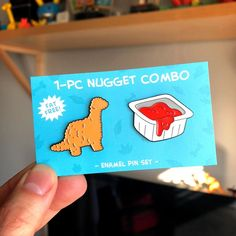 Pin Dino Nugget + Sauce Pin Combo Caring Of A Tie If a tie could speak, it would implore you to trea Broches Disney, Mode Kawaii, Bag Pins, Jacket Pins, Cool Pins, Metal Pins, Pin And Patches, Up Girl, Pin Badges