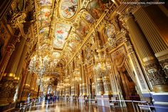 Palais Garnier was the original home of the Paris Opéra for 114 years. Palais Garnier is equally renown for its extraordinary exterior architecture and its enthralling interior design. Featured in this image is the Grand Foyer, one of many, many fascinating interior scenes of Palais Garnier. The entire building is worth some exploration if and when you visit the French capital.