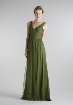 2012 Beautiful Green V-neck Straps Pleated Floor Length Bridesmaid Dress