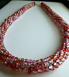 """Beaded Kumihimo necklace, bead necklace, gifts for her, pink bead necklace, beaded necklace """"Pink Parfait"""" by TheBeckoningCat on Etsy"""
