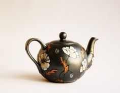 Teapot Hand Painted White Poppy Gold Silver by NevenaArtGlass, $47.80