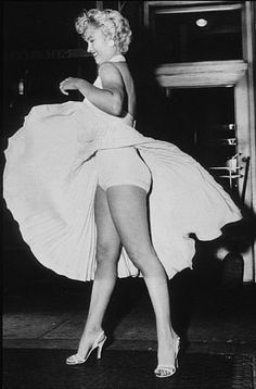 """Marilyn Monroe during filming """"The Seven Year Itch"""" in New York, 1954."""