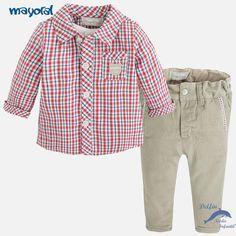 92bc4c6a70d Conjunto de bebe niño MAYORAL NEWBORN de camisa y pantalón largo pana beig