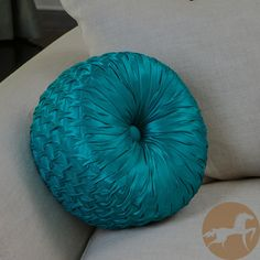 Add a splash of eye-catching color and style with this gorgeous turquoise round throw pillow. The beautiful turquoise color of this pillow will brighten up any decor, while its lined blend cover and k Living Room Lounge, My Living Room, Living Room Furniture, Living Spaces, Dining Room, Turquoise Pillows, Blue Pillows, Throw Pillows, Dream Bedroom