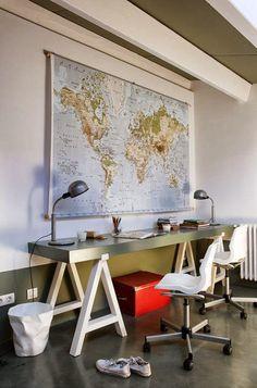 boy's room desks | modern desk | vintage metal table lamps | red color pop trunk | oversized wall map | KIDS DESKS Cool Boys Room, Boys Room Decor, Bedroom Decor, Kb Homes, Kids Bedroom Designs, Kid Desk, Homework Desk, New Home Builders, New Room