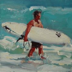 Surfer Painting - Boarder 4 - by Robin Cheers. $75.00, via Etsy.