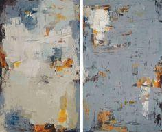 "Dawn to Dusk by Martha Rea Baker, 60 x 36"" each (priced as diptych), oil, cold wax on canvas|Karan Ruhlen Gallery Santa Fe"