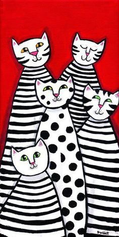 Jazz Cats black white stripes polkadots PRINT Shelagh Duffett - Kunst - Katzen World Jazz Cat, Splat Le Chat, Arte Elemental, Classe D'art, Art Populaire, Art Classroom, Art Plastique, Teaching Art, Elementary Art