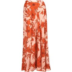 TOPSHOP Poppy Bloom Maxi Skirt (1.285 RUB) ❤ liked on Polyvore featuring skirts, saias, topshop, orange, floor length skirts, orange maxi skirt, maxi skirts, long skirts and red skirts