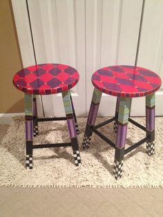 "Custom 18"" Stools round top stool hand painted"