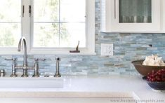 """Beach Kitchens: Love taking the backsplash tile all the way up to the ceiling.This tile is a great glass collection by """"Stone and Pewter Accents"""" called Agate, color is Lucca Pearl. Kitchen Redo, Kitchen Backsplash, New Kitchen, Backsplash Ideas, Mosaic Backsplash, Petite Kitchen, Kitchen Ideas, Beach Kitchen Decor, Splashback Ideas"""