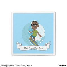Surfing boy cartoon standard cocktail napkin