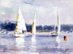 Veleros en la costa. acuarela sobre papel, 75 x 56 cm.Luis Martínez Romero