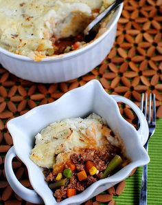 Healthy shepherd's pie with mashed cauliflower. Get the recipe.
