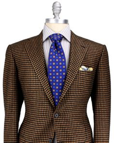 Kiton Gold and Black Houndstooth Sportcoat