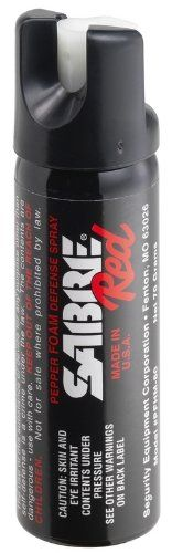 SABRE RED Police Strength Pepper Spray - Home Pepper Foam with Glow-In-Dark Safety & Wall Mount Clip