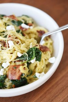 Spaghetti Squash with Bacon, Spinach, and Goat Cheese Recipe via @SparkPeople