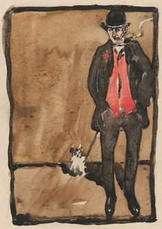 Joseph Crawhall, 1861–1913, British, Self Portrait, early 1890's, Watercolor, and pen and black ink on moderately thick, slightly textured, beige, wove paper. /  Yale Center for British Art, Paul Mellon Collection