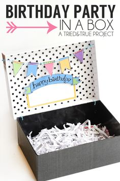 Learn how to make a Birthday Party In a Box with this full tutorial and link to supplies and free printables! An easy way to send some birthday cheer.