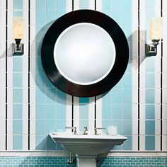 powder room with light blue, white and black vertical subway tile pattern.....obsessed with all of this!