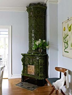 Swedish ceramic stove.  http://www.apartmenttherapy.com/dc/good-questions/swedish-stove-sources-good-questions-157392
