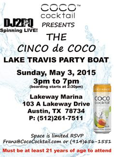 Listen to IHeart Radio in Austin to win passes to the VIP CINCO de COCO Party Boat on Lake Travis Austin.  Winners all week long! Must be at least 21.