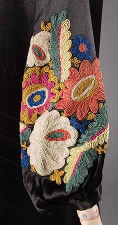 EMBROIDERED SATIN COAT, 1920s