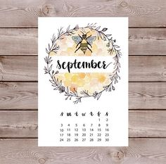 Watercolor Floral Wreath Bees Calendar Monthly Journal Spread