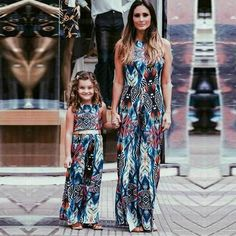9eace07494ae Mom and Me Matching Sleeveless Printed Maxi Dresses - Trendsology Mother  Daughter Fashion, Mother Daughter