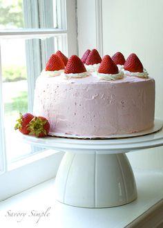 Strawberry cake from @SavorySimple