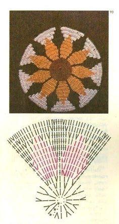 Interesting ideas for decor: Прихватки вязаные крючком Crochet Diagram, Crochet Chart, Filet Crochet, Crochet Motif, Crochet Flowers, Crochet Stitches, Knit Crochet, Crochet Circles, Crochet Squares
