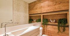 Banheiro com papel de parede de Banheiro de Duo Traço - Viva Decora