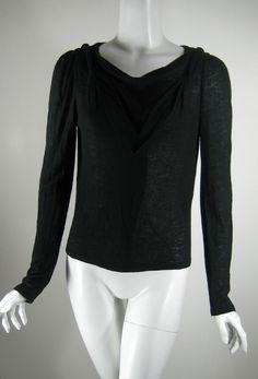 ERYN BRINIE Black Drapey Soft Knit Sweater Blouse Size Medium #ErynBrinie #Blouse