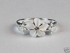 925 Sterling Silver Hawaiian Hibiscus Plumeria Ring Sea Turtle CZ Band Shiny   eBay