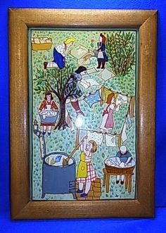 Vintage German 50´s behind Glass Painted Picture Frame Women in Garden #BY4 #Modernism