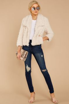 BB Dakota Ivory Coat - Stylish White Fuzzy Jacket - Coat - $120 – Red Dress Boutique Fashion Ideas, Autumn Fashion, New Today, Comfy Casual, Fur Jacket, Sneakers Fashion, Night Out, Winter Outfits, Perfect Fit