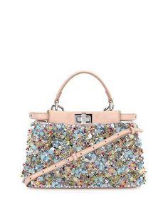 Fendi Peekaboo Mini Beaded Flower Satchel Bag, Blue/Pink/Multi