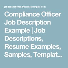 Try non compliance biz compliance travel career tips - Insurance compliance officer job description ...