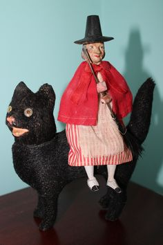 German Mohair Cat with Glass eyes Candy Container and Witch Rider